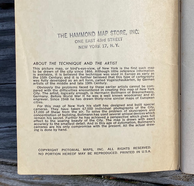Lot 50 - Hermann BOLLMANN (1911-1971, cartographer). ƒ?? PICTORIAL MAPS Inc. (publishers). New York Map