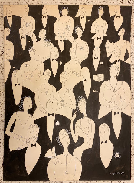 Lot 54 - Lucille CORCOS (1909-1973, artist) Original artwork, a section of a theatre audience viewed from the