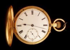 18k gold hunter pocket watch