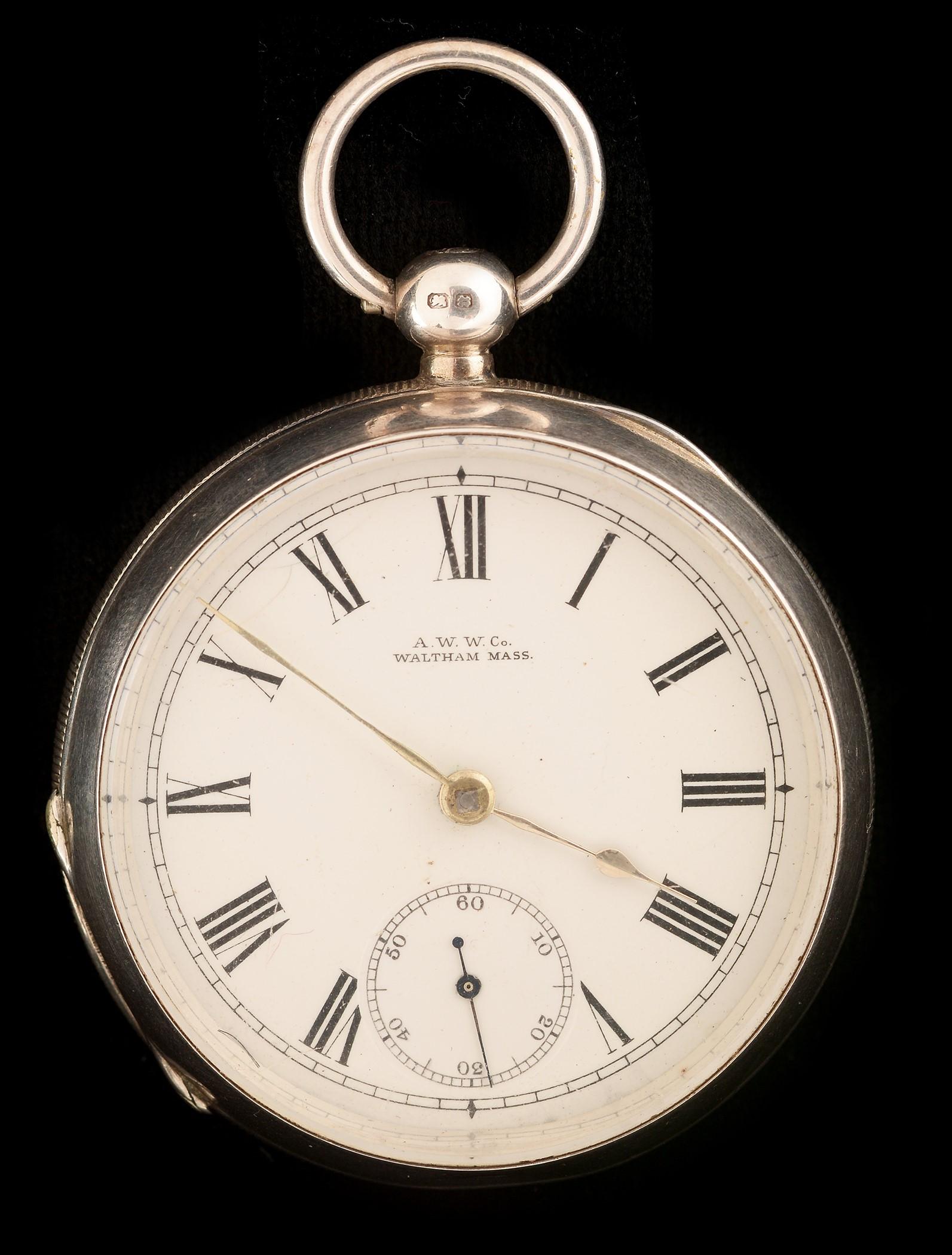 Lot 34 - Silver Waltham open face pocket watch