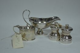 Silver condiments and sauce boat