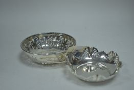 Two silver bonbon dishes