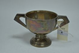 A silver two handled trophy
