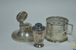 Silver ink well, salt and glass stand