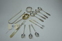 Silver spoons and other items