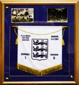 A framed montage: F.I.F.A. World cup Qualifier. Germany v England.
