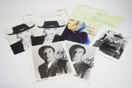 Signed photographs by Bob Hope, Marty Wilde, Kim Wilde.
