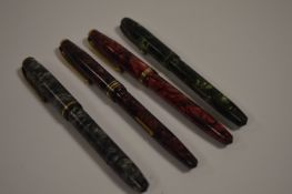 Four Conway Stewart fountain pens