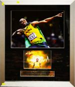 Usain Bolt signed montage