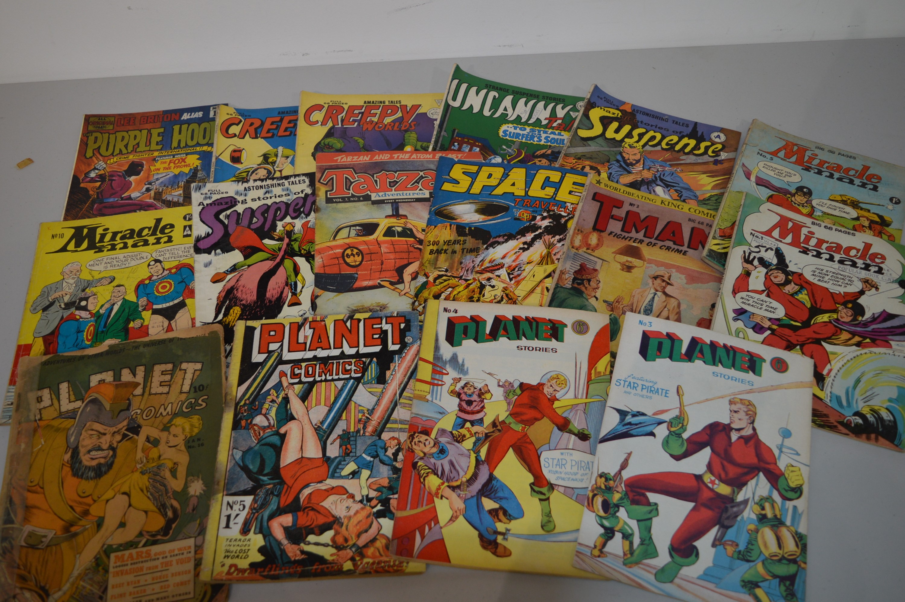 Planet Comics, Miracle Man, T-Man; and other British reprint comics.