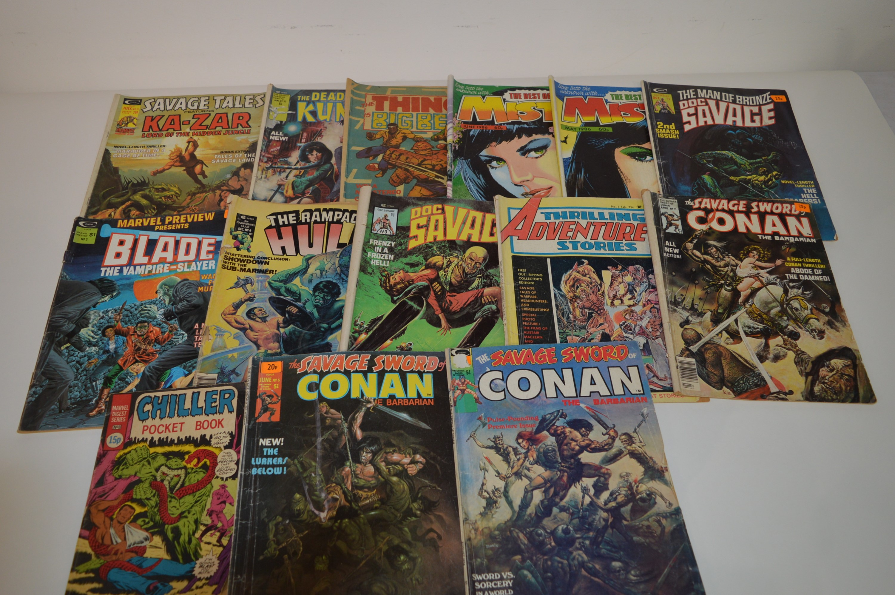 The Savage Sword of Conan; and other comics magazines.