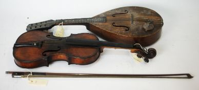 Continental Violin, bow signed Le Blanc and a mandolin