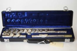 A Boosey and Hawkes Emperor silver plated flute, serial number 577688 made in England, with Cooper