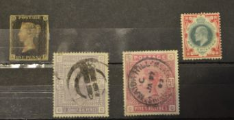 GB QV 1d and other stamps