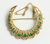 Emerald and diamond crescent brooch
