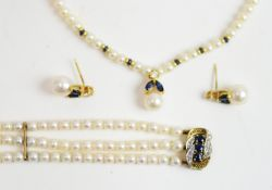 Pearl, diamond and sapphire necklace, bracelet and earrings