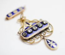 A Victorian diamond and enamel pendant