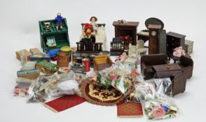 A collection of miniature dolls, furniture, shop fittings and other items.