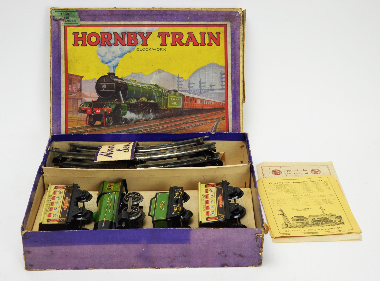 A Hornby M0 clockwork passenger train set.