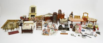 A large collection of doll's house dolls, furniture and other items.