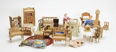 A collection of vintage miniature dolls and doll's furniture and other items.