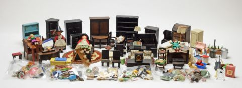 A collection of vintage miniature dolls, furniture and other items.