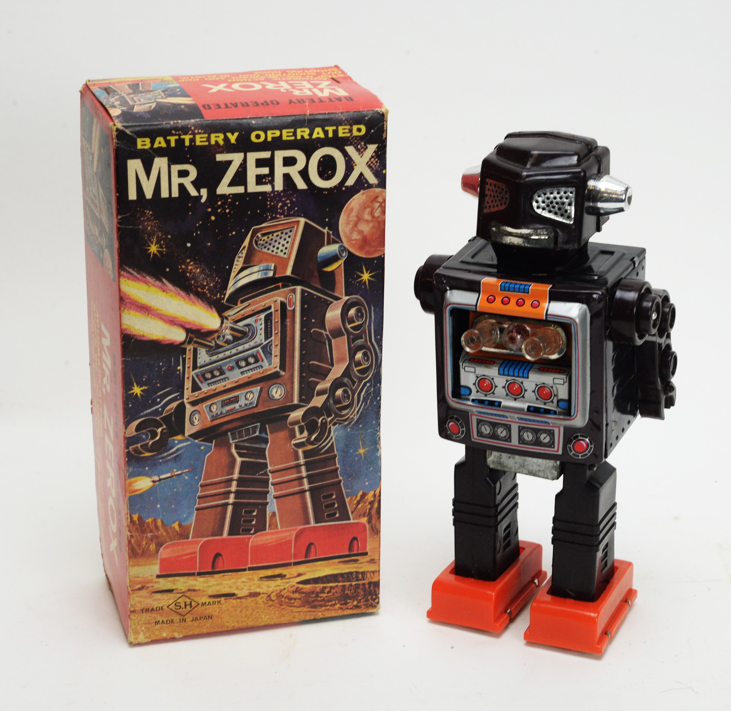 """A battery-operated 1960's toy robot """"Mr. Zerox""""."""