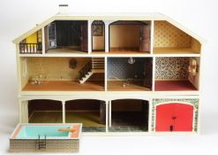 Lundsby, Sweden: a modern three-storey doll's house and garage, and swimming pool.