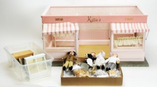 """A modern doll's bakery shop """"Katie's Bread & Cakes"""", and accessories."""
