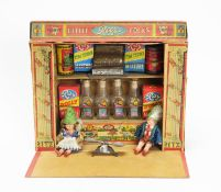 """Ritz Toys: a """"Little Folks"""" printed card doll's shop; accessories; and two dolls."""