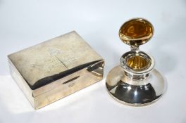 An Indian Colonial silver cigarette box with presentation inscription