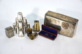 A late Victorian silver cigarette box and other items