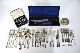 A cased three piece carving set and other items