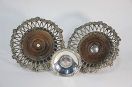 A good pair of 19th century basket-design electroplated bottle coasters