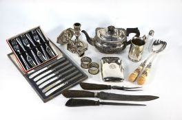 A silver hip-pocket cigar-case and other items