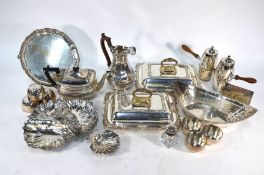 A pair of electroplated entrée dishes and covers and other items