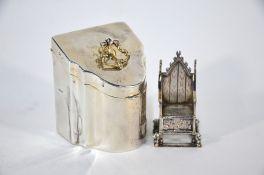 Two Edwardian silver miniature novelty items
