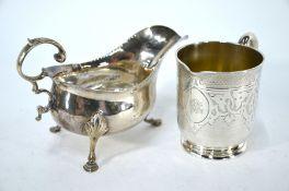 Silver sauce boat and mug