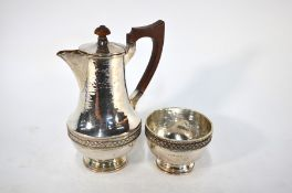 A heavy quality planished silver coffee pot and sugar basin