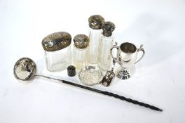 A George III silver punch ladle, and other items