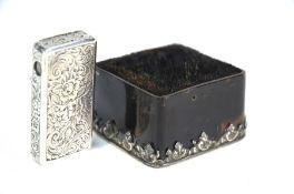 A Victorian silver patent vesta-case with integral cigar-cutter