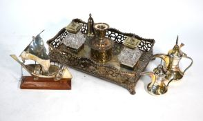 Two Middle Eastern white metal miniature coffee pots, etc.