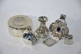Assorted Continental white metal items
