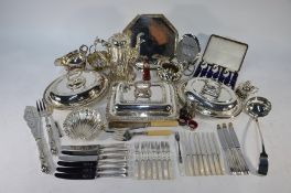 Three electroplated entrée dishes and covers