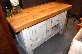 A bespoke jointed pine kitchen cabinet/butcher's block