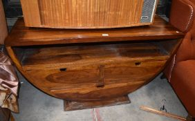 A contemporary hardwood TV cabinet