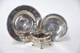 Small silver dish, open salt and dish set with Turkish coin