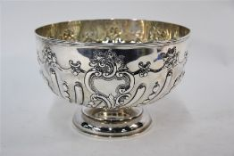 A late Victorian silver rose bowl/punch bowl