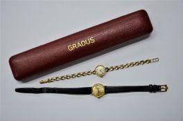A lady's 9ct gold Swiss Gradus wristwatch with 17-jewel movement