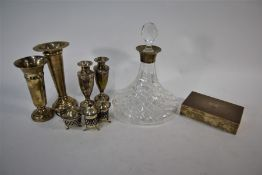 A cut glass ship's decanter with silver collar etc